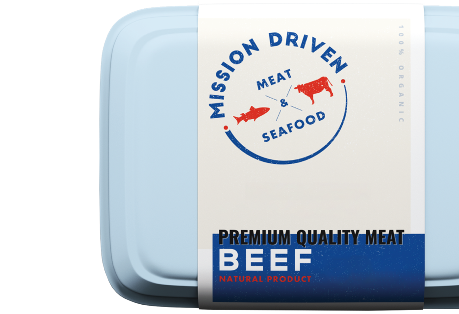 Mission Driven Meat Packaging Sticker Logo